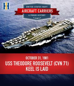 The keel of the fourth Nimitz-class aircraft carrier, USS Theodore Roosevelt (CVN 71), was laid down on October 31, 1981. #BigStick