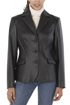 This BGSD Women's Three-Button Leather Blazer is very versatile.  Wear this jacket with jeans for a nice casual style or wear with some dress pants for a dressier style. $99.99  http://www.luxurylane.com/421-106055-blk.html