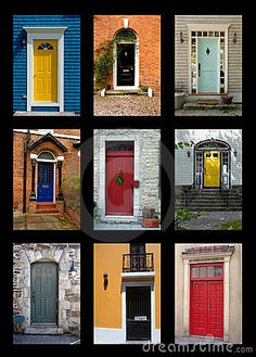 front door ideas...especially loving the blue house with yellow door :)