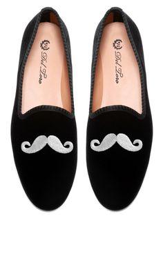 Del Toro Prince Albert Black Velvet Slipper Loafers With Mustache Embroidery