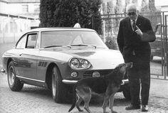 Enzo Ferrari and his dog.