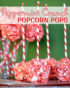 Marshmallow Peppermint Crunch Popcorn Ball Pops | MomOnTimeout.com