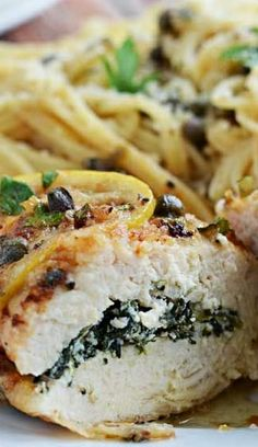 Spinach  Ricotta Stuffed Chicken Piccata Recipe ~ The flavors of the lemon, capers, wine, butter, ricotta, spinach, parsley, and chicken combined perfectly... Glorious.