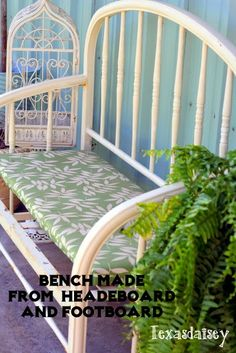 Metal Bench made from headboard and footboard
