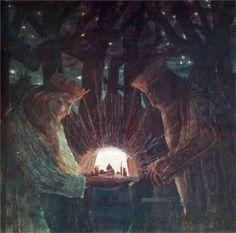 Kings (Fairy Tale Kings ), 1909 -Mikalojus Ciurlionis - by genre - mythological painting