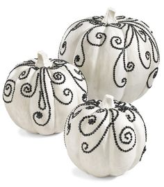 white jeweled pumpkins halloween decoration (set of 3)-Chasing-fireflies