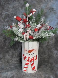 Candy Cane Snowman Floral Christmas Decoration