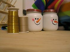 Snowmen from baby food jars