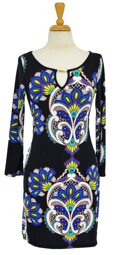 Blue Flower Tunic~ Best selection of Tunics & matching accessories ~ Flat postage worldwide ~ Petite to Plus sizes ~ www.ilovetunics.com