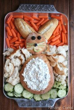 easter dinner, appetizer recipes, bread bowls, food, veggie appetizers, veggie tray, easter party, spinach dip, easter bunny