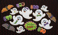 A wonderfully cute assortment of decorated Halloween Cookies. #cookies #decorated #food #baking #dessert #cute #Halloween #bats #ghosts