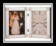 Nice Bulova wedding photo frame with clock. #weddings #giftideas