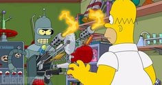 First Look at 'The Simpsons' / 'Futurama' Crossover -- Former Fox series 'Futurama' comes back to life in 'The Simpsons' crossover episode airing November 9th. -- http://www.tvweb.com/news/simpsons-futurama-crossover-photo
