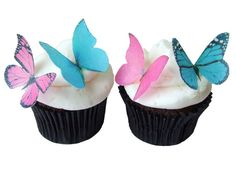 24 Edible Butterflies   Fuchsia and Turquoise by incrEDIBLEtoppers, $9.95