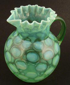 Fenton Green Vaseline Opalescent Pitcher