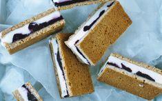 Lemon Ice Cream Sandwiches with Blueberry Swirl