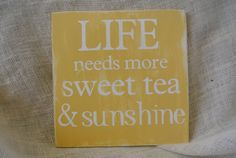 southern summer decor sweet tea and sunshine handpainted wooden sign buttercup yellow rustic subway art primitive southern sign