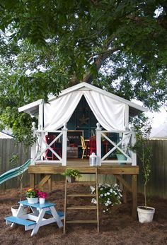 Built for kids, but I want one for myself!   Find all the information on how to build this amazing backyard getaway from the   Handmade Home.