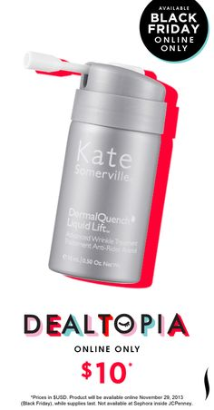 Black Friday Preview: Kate Somerville Dermal Quench Liquid Lift Advanced Wrinkle Treatment mini #Dealtopia #Sephora #blackfriday