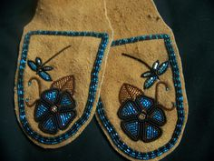 Alaska native Women's moccasin/slipper tops on moosehide by Liisia Carlo Edwardsen