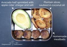 Paleo Lunchbox Ideas for Kids and Adults      Avocado (sprinkle it with apple cider vinegar to prevent it from getting brown!), meatballs,...