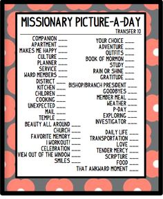 Missionary Picture scavenger hunt idea! So cute