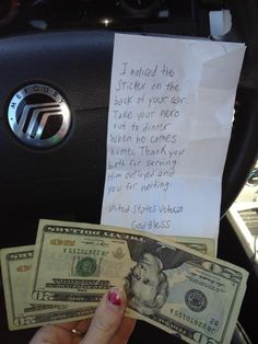 A woman came out of Dunkin Donuts and found this under her windshield wiper. There are no words to describe how she felt. Tears in her eyes. I just wish I could thank whoever did this!  God bless our troops and all of those who stand behind them. ♥""