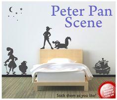 Peter Pan scene vinyl wall decal sticker by circlewallart on Etsy, £19.99