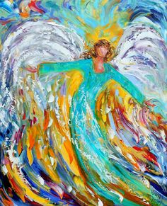 Original oil Blue ANGEL PALETTE Knife painting by Karensfineart