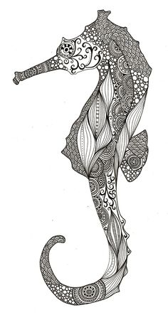 seahorse - Print it, draw it, sew it, or quilt it & frame it.