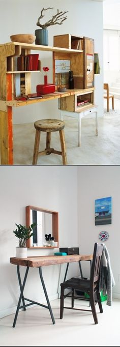 DIY Reclaimed Wood Desks For Your Home Office wood desk, ikea leg, home offices