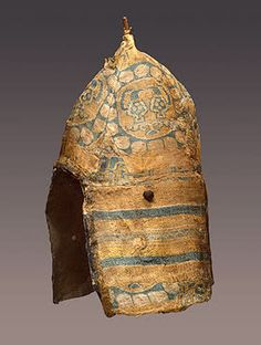 Male Headdress Designed like a Helmet and Covered with Sogdian Silk  Silk, linen, wood, leather; H. 50 cm  Early medieval culture of the Adygo-Alanian tribes. 8th-9th century  Moshchevaya Balka Burial Ground, North-western Caucasus, Moshchevaya Balka (gorge), Karachayevo-Cherkessk Republic  Russia  Source of Entry:   State Museum of Ethnography of Peoples of the USSR, Leningrad. 1935