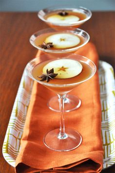 Floating Star Martini... with apple cider, bourbon, and pomegranate liqueur!