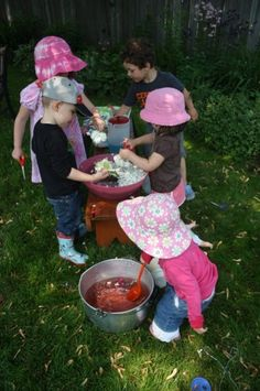 """""""Garden Soup""""! Making garden soup is as easy as setting out some bowls, spoons, ladles, a jug or two of coloured water and some scissors so the kids can go around the garden collecting their ingredients."""