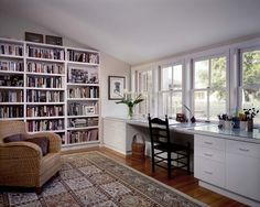 Contemporary Home Office Design. Such a beautiful work station.