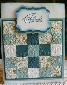 handmde quilt card from Stampin' Sunset to Sunrise ... blues  ... like the baroque texture folder for embedded embossing ... squares in a five patch with central star ... lovely!! ... Stampin' Up!