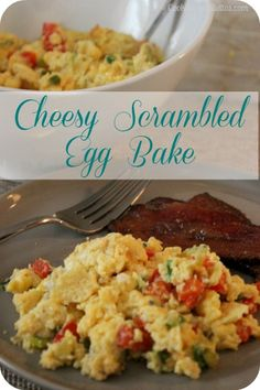 This easy Cheesy Scrambled Egg Bake is perfect for brunch and couldn't be easier to whip up.  The oven does all the heavy lifting while you can sip a mimosa as it bakes.  Egg perfection!  http://cookinginstilettos.com/cheesy-scrambled-egg-bake/  #Eggs #Cheese #Brunch
