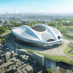 New images of Zaha Hadid's modified Tokyo Olympic stadium design