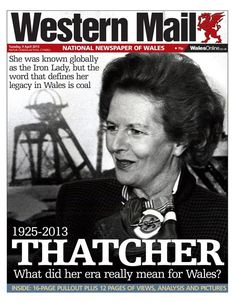 The Western Mail after Margaret Thatcher died
