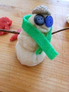 Peppermint Play Dough - building play dough snowmen