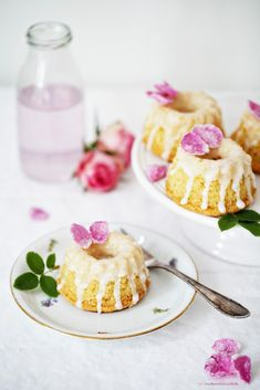 rosewater & almond mini bundt cakes bundt cakes, dessert cakes, almond, dream, baking recipes, healthy desserts, mini, rose petals, cake recipes