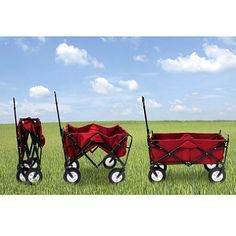 Folding Wagon...  Good for storing it, so it doesn't take up so much space.  Then break it out, when you are ready to go camping!  Or that trip outdoors to the beach.