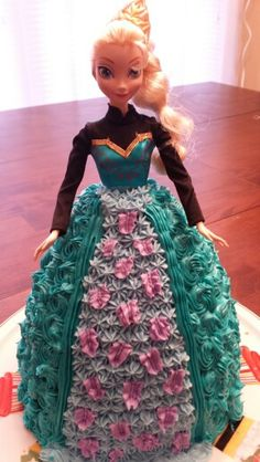 Elsa cake for Disney Frozen birthday party.