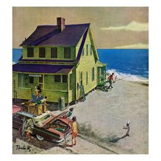 """""""Fathers Off Fishing,"""" June 18, 1960 Giclee Print by Thornton Utz at Art.com"""