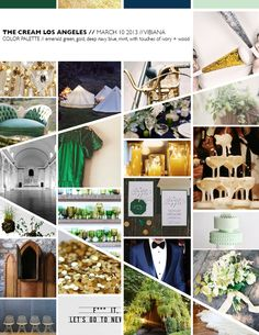 Check out the inspiration behind The Cream Event (March 10-Vibiana) Emerald, Midnight Blue, Gold, Ivory, Touches of Wood