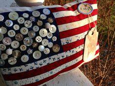 Patriotic Decorations | Prim Patriotic Flag Pillow Tuck Americana Decor by LilBeansShop