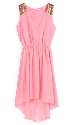 Pink Sequined Shoulder Sleeveless Dipped Hem Dress - Sheinside.com
