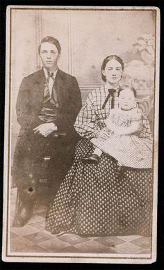 "Civil War Era photograph. Interesting pattern mix. 1860s- please notice ""mom's"" plaid shirt and printed skirt."