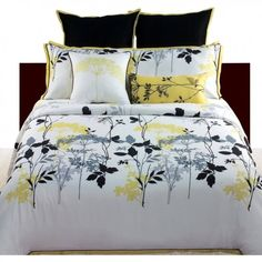 Gray Yellow 4 Piece Bedding Comforter Set