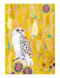 SNOW OWL 8.5 x 11 print by yellowbuttonstudio on Etsy, $20.00